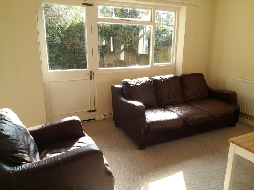 Picture of my living room - big comfy sofa and armchair