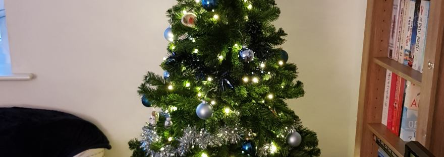Christmas Tree decorate with lights and silver/blue tinsel and baubles, a navy blue glittery start on top